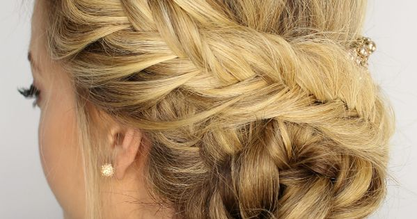 Perfect for showing off the sexy back details on your dress, this fishtail braided updo is perfect for prom! hairstyle [ OhmSalonVenice.com ]
