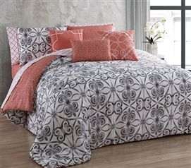 Peach Patterned Twin Xl Dorm Comforter Extra Long Twin College