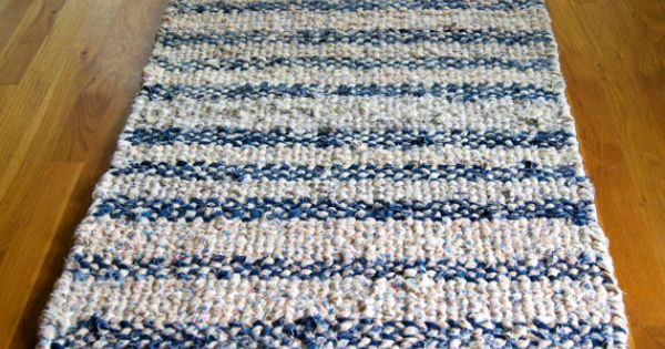 Twined Denim Rag Rug Hand Woven Large Washable Cotton Blue
