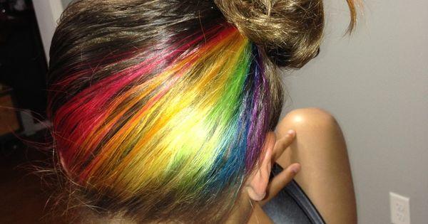 Rainbow hair underneath | HAIR STYLIST | Pinterest ...