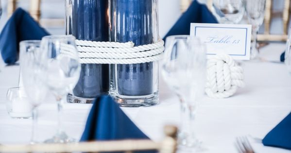Pretty idea; no flowers; nautical rope centerpiece