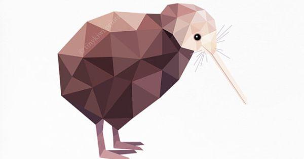 Kiwi nieuw zeeland bird geometrische druk originele for Minimal art kunst