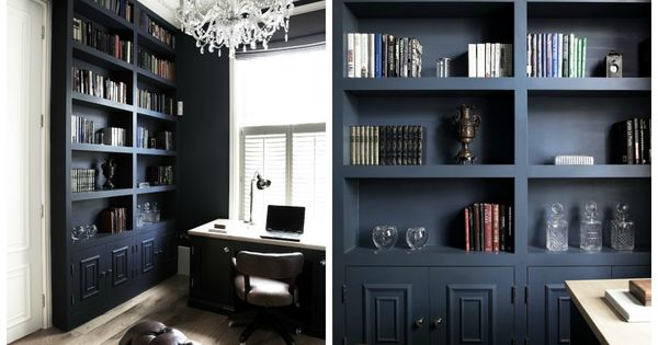 Study by cochrane design hague blue do this around door way in study office house ideas - Farrow and ball hague blue ...
