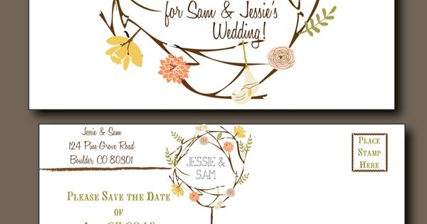 Save the Date Postcard - Spring Wedding, Summer Wedding, Rustic Wedding, Bohemian