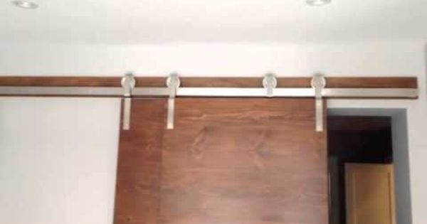 Stainless Steel Bypass Barn Door Hardware System In Action