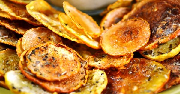 Ahhh, I need more squash recipes. Squash chips: slice thin, salt, bake