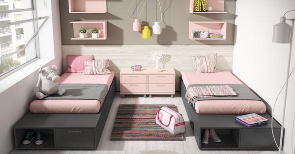 Twin girls double room shared room dormitorio doble - Habitacion juvenil doble ...
