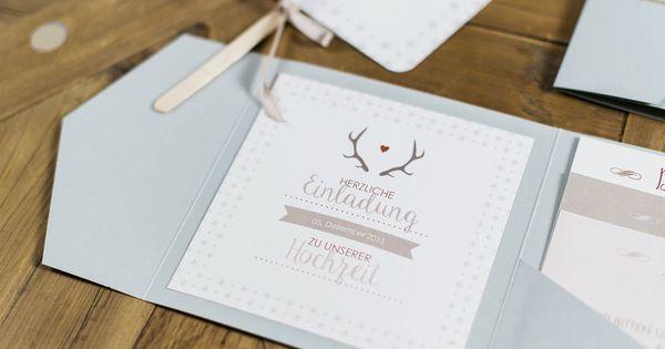 Hochzeitseinladung hirschgeweih von papier feder auf for Hochzeitseinladung holz