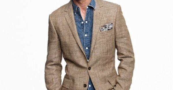 Denim on denim with tweed. Nice pocket square accent