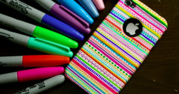 White cell phone case + colored Sharpies = Endless possibilities...