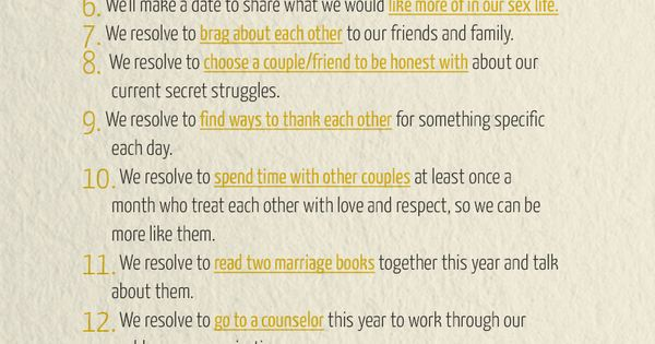 Healthy Marriage Resolutions