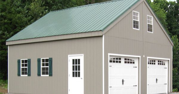 2 car prefab garage with metal roof books worth reading for Two story metal garage