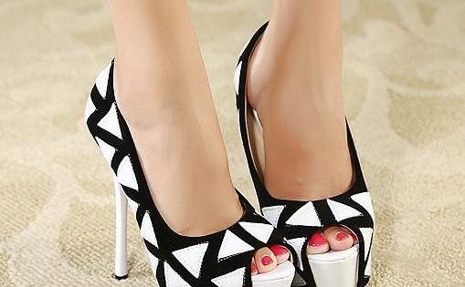 Love Black and White Classic...Glamorous Geometrical Design Peep Toe Platform High Heels