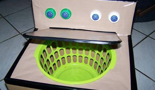 DIY cardboard box washing machine for dramatic play preschool kindergarten, this is