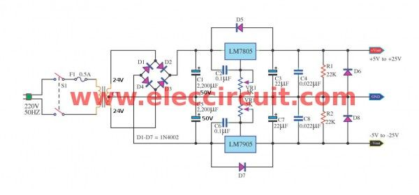 7805 And 7905 Dual Adjustable Power Supply Project Eleccircuit Com Power Supply Circuit Power Supply Electronic Schematics
