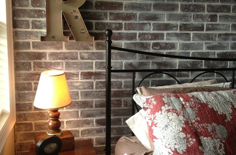 Faux Brick Wall Whitewashed With Chalk Paint In My
