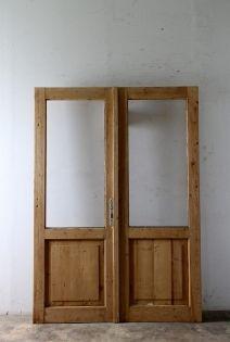 無塗装 観音開きガラスドア 模様替え ガラスドア アンティーク ドア