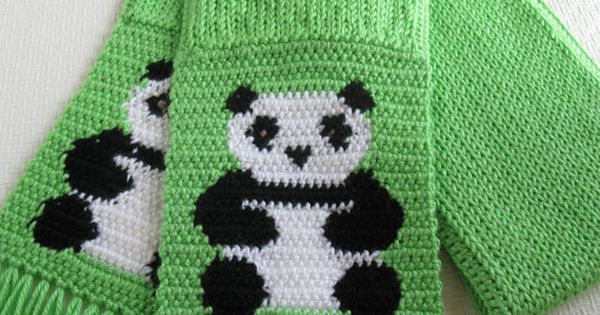 Panda Bear Scarf. Bright green knitted scarf with crochet ...