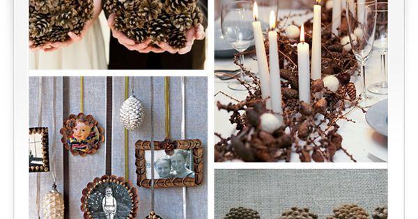 kleine dekoinspiration f r eine winterhochzeit tannenzapfen winterhochzeit und ergebnisse. Black Bedroom Furniture Sets. Home Design Ideas