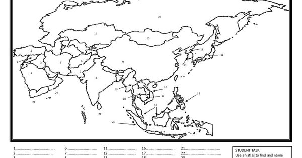 map of asia worksheet by mcauley high school via slideshare the art of teaching pinterest. Black Bedroom Furniture Sets. Home Design Ideas