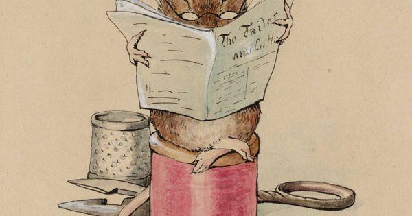 Beatrix Potter -1902. art mouse sewing newspaper book