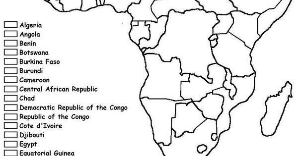 Africa coloring map black history pinterest for Map of africa coloring page