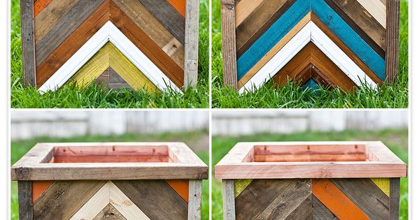 Chevron Pattern Recycled Wood Planter Box. Cute Idea!