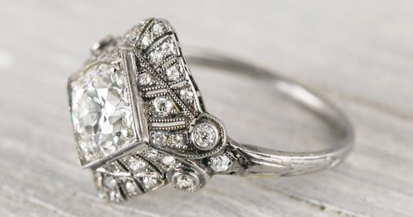 .97 Carat Art Deco Vintage Engagement Ring... this remarkable Art Deco vintage