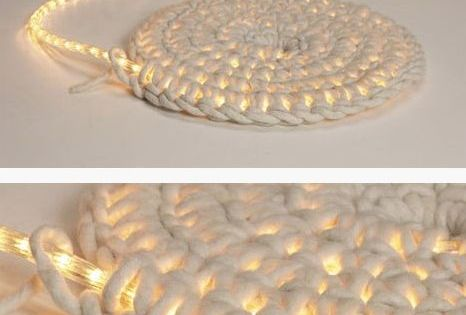 Crochet around a rope light to create a light-up rug. Great for