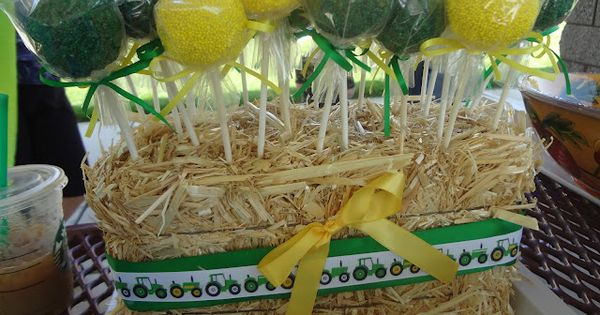 john deere birthday party ideas | John Deere cake pops in a