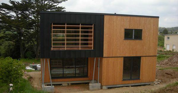 Maison ossature bois bardage douglas zinc anthracite for Bardage maison ossature bois
