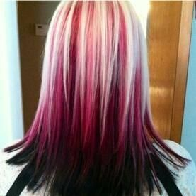 Red And Blonde Hair Color Black Hair Blonde Tips Hair Inspiration Color Ombre Hair
