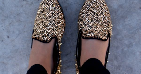 bedazzled/spiked flats.