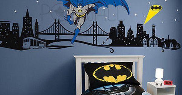 Unique Batman Vs Superman Bedroom Ideas That Rock: Batman Wall Decal Super Hero Cityscape