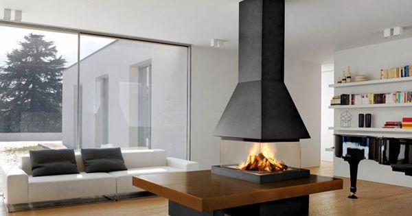 chemin e centrale foyer ferm ou chemin e traditionnelle chemin e centrale chemin e et central. Black Bedroom Furniture Sets. Home Design Ideas