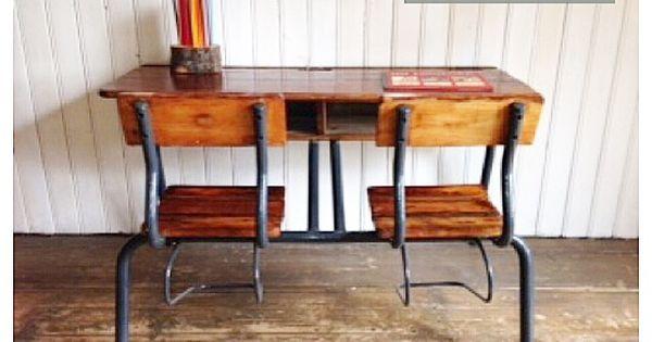 Schoolbank lessenaar oud bureau kamer jill pinterest meer idee n over lessenaar en bureaus - Kamer kinderstoel ...