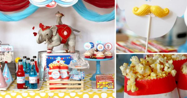 circus theme birthday party dessert table