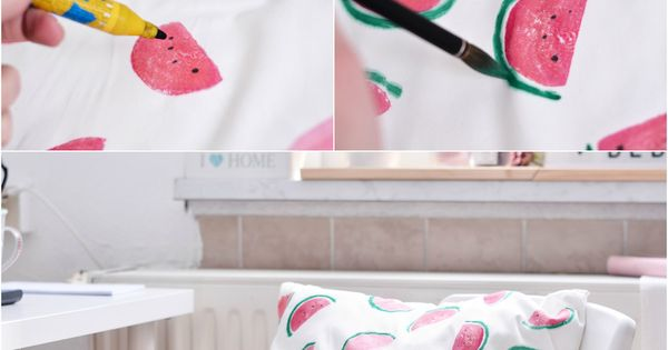 ekiem diy melonen kissen mit kartoffeldruck watermelon pinterest design pandora und. Black Bedroom Furniture Sets. Home Design Ideas