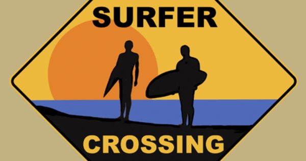Surfer Crossing Road Sign From Sarah J Home Decor Made