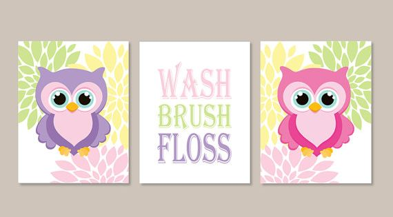 Owl Bathroom Decor Wash Brush Floss Bathroom Rules Wall