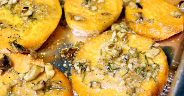 roasted sweet potatoes with olive oil, garlic, walnuts, and rosemary...great side dish!