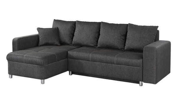 ecksofa aramia mit schlaffunktion flachgewebe anthrazit ottomane beidseitig montierbar. Black Bedroom Furniture Sets. Home Design Ideas