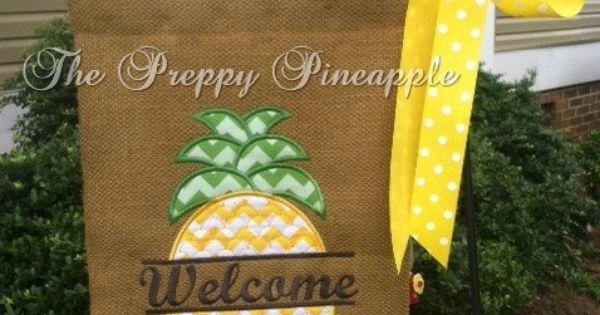 Preppy Pineapple Garden Flag SINGLE SIDED by ...
