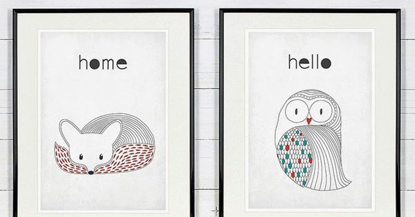 affiche r tro style scandinave hibou renard poster vintage o acheter trouver retro design. Black Bedroom Furniture Sets. Home Design Ideas