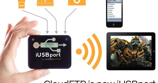 iUSBport connects to any USB storage device (including USB hard drive, flash