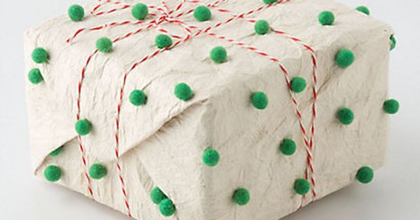 DIY Pompom Wrapping Paper gift packaging presents green