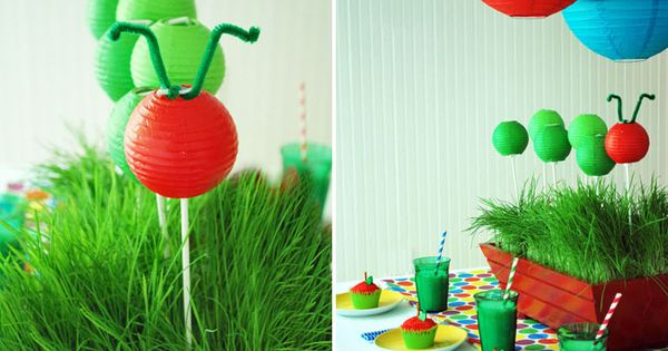 Hungry Caterpillar Paper Lantern Centerpiece Idea.