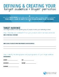The Essential Target Audience Buyer Persona Worksheet Persona Marketing Ebook Marketing Buyer Personas
