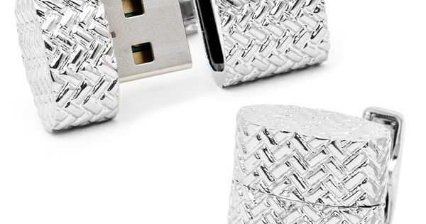 Woven Silver Oval USB Cuff Links on OneKingsLane.com