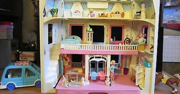Fisher-Price Loving Family Dollhouse 1993 Kitchen Flip-Top Table /& 2 Blue Chairs